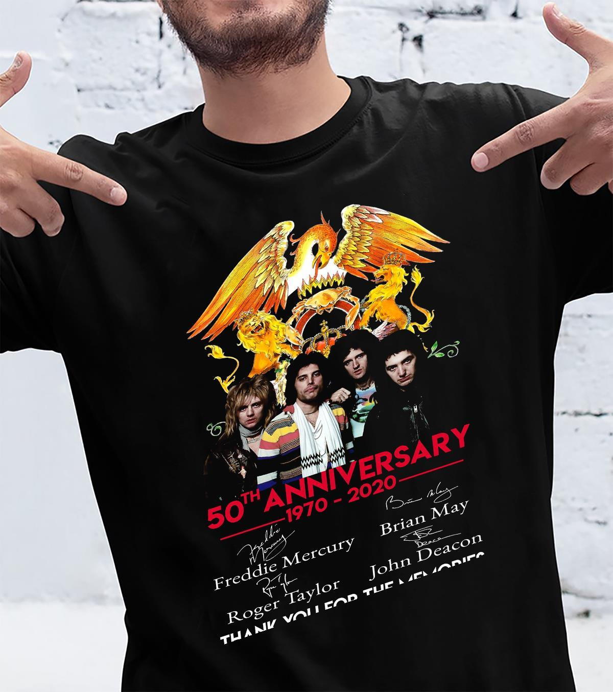 50th Anniversary 1970-2020 Freddie Mercury Brian May Roger Taylor John Deacon Thank You For The Memories Shirt unisex