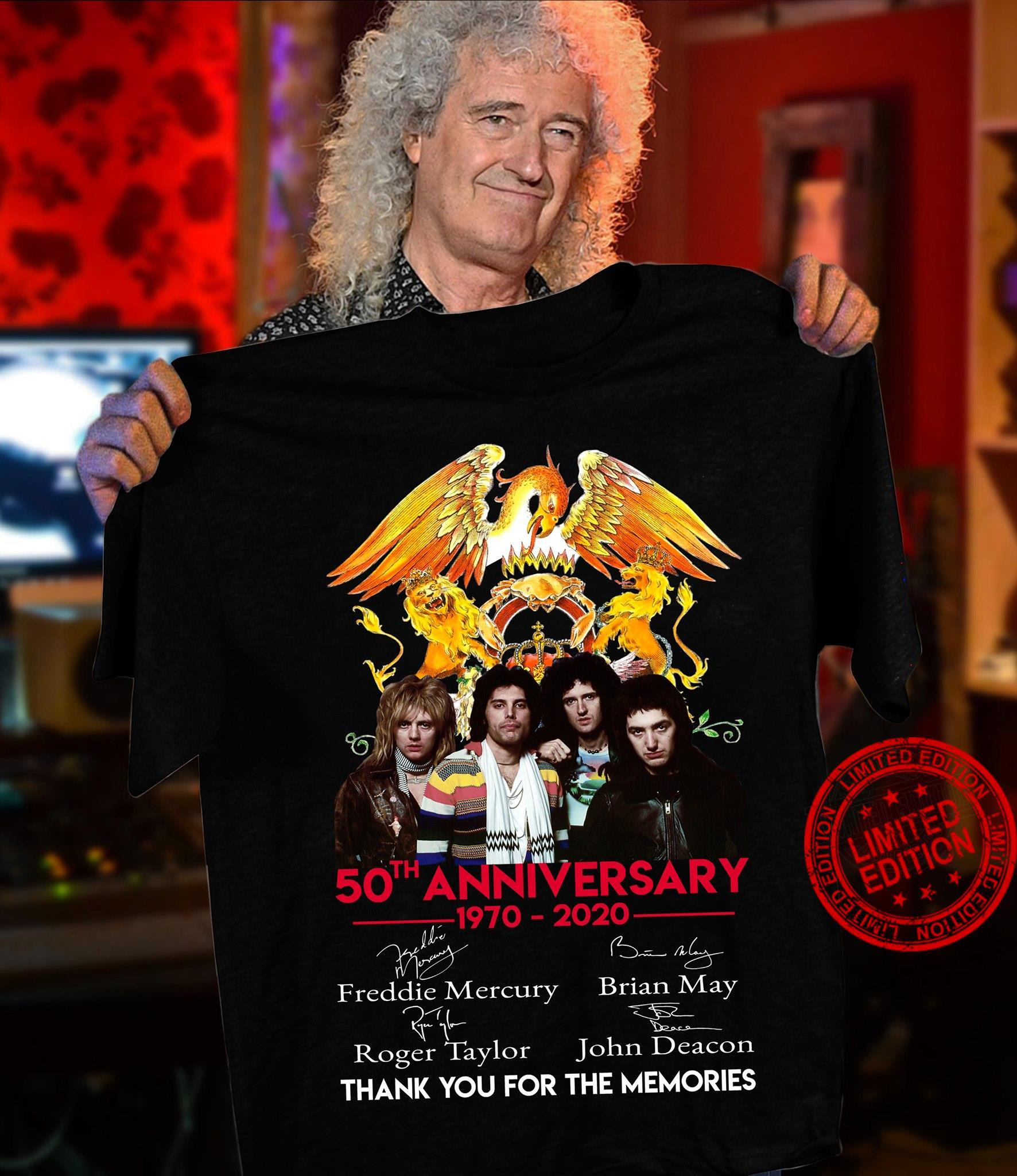 50th Anniversary 1970-2020 Freddie Mercury Brian May Roger Taylor John Deacon Thank You For The Memories Shirt